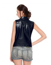 Stylish Womens Leather Vest with Waist Buckle