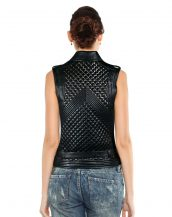 Stylish Womens Embellished Leather Waistcoat