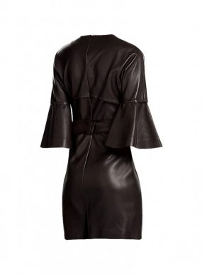Womens Leather Halloween Costume with Ruffled Sleeves