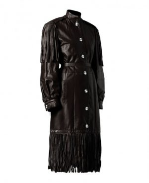 Womens Black Leather Halloween Coat with Fringe Detail