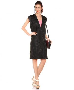 Stylish Long Vest with Deep V Neckline