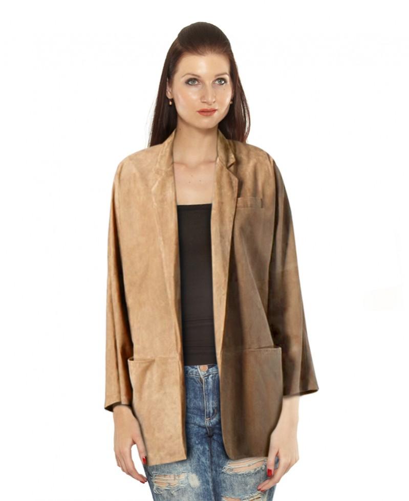 Womens Kimono Style Suede Blazer 1