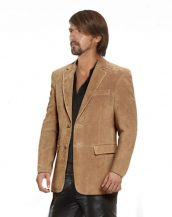 Classic Double Buttoned Leather Blazer for Men