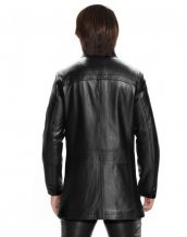 Mens Leather Coat with Button and Eyelet Fastening