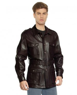 Military Style Leather Trench Coat with Waist Belt for Men