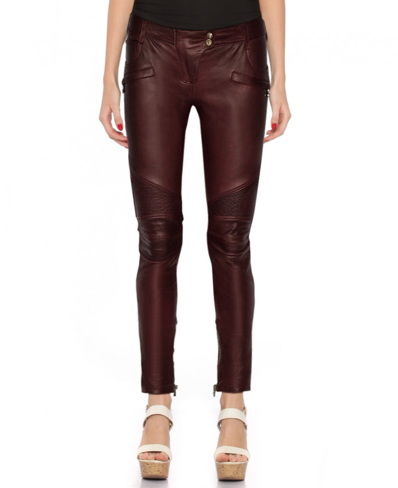 Women Motorcycle Leather Pants with Ribbed Detail 1