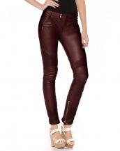 Women Motorcycle Leather Pants with Ribbed Detail