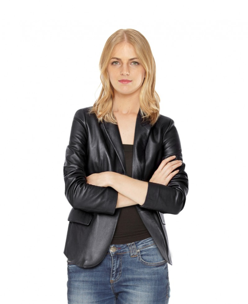 Womens Classic Black Leather Blazer 1