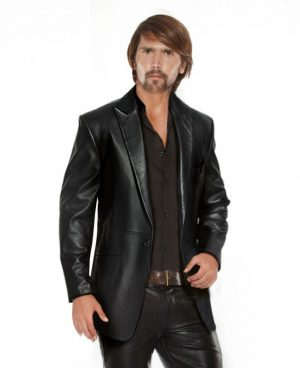 Mens Single Buttoned Classic Black Leather Blazer