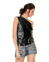 Womens Leather One Shoulder Biker Vest