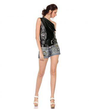Womens Leather One Shoulder Biker Vest