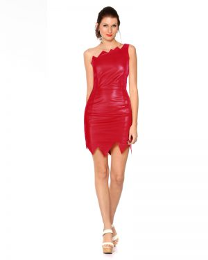 Womens One Shoulder Leather Dress with Jagged Edges