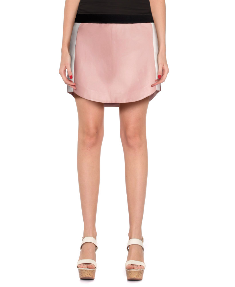Womens Pastel Pink Leather Skirt with Color block Side Panels 1