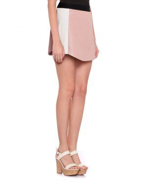 Womens Pastel Pink Leather Skirt with Color block Side Panels