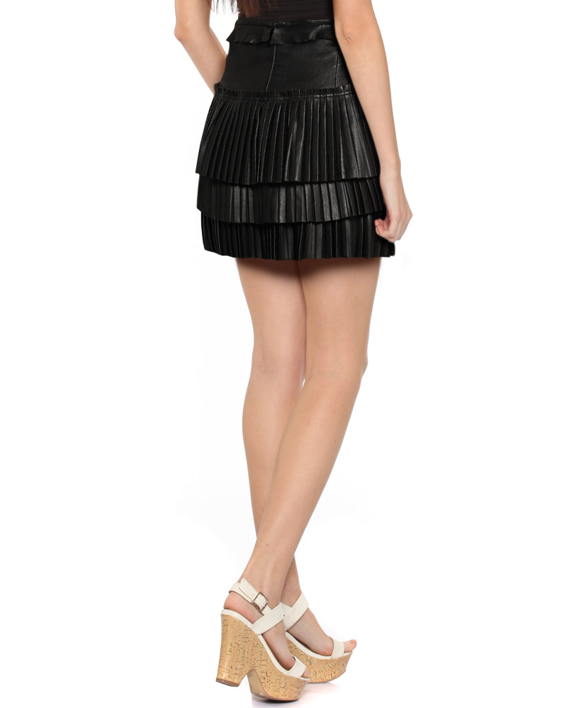 pleated leather mini skirt for at leatherright