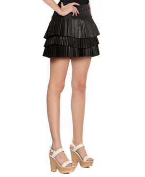 Womens Leather Mini Skirt with Ruffled Waistband