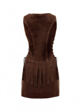 Womens Fringed Suede Dress with Crisscross Drawstring Closure