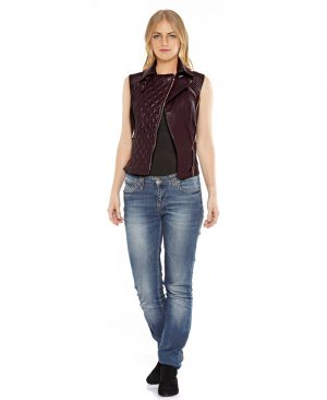 Womens Leather Double Breasted Vest with buckle tab