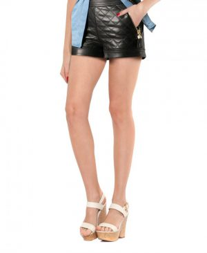 Women Sexy Quilted Leather Shorts with Cuffed Hem
