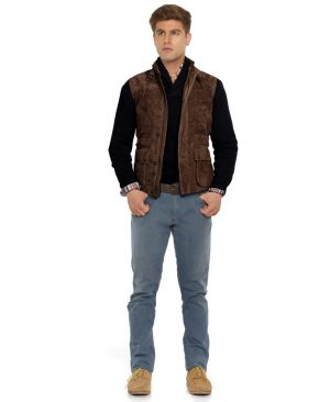 Mens Brown Quilted Suede Motorcycle Vest with Buckled Collar