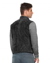 Quilted Suede Vest with Stand Collar for Men
