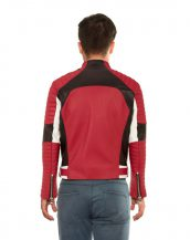 Color Block Red Leather Biker Jacket