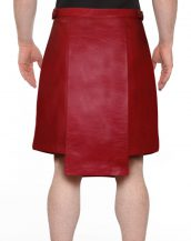 Mens Studded Red Leather Kilt with Side Buckle Tabs