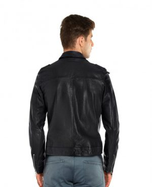 Mens Shirt Style Lambskin Leather Jackets with Shoulder Epaulettes