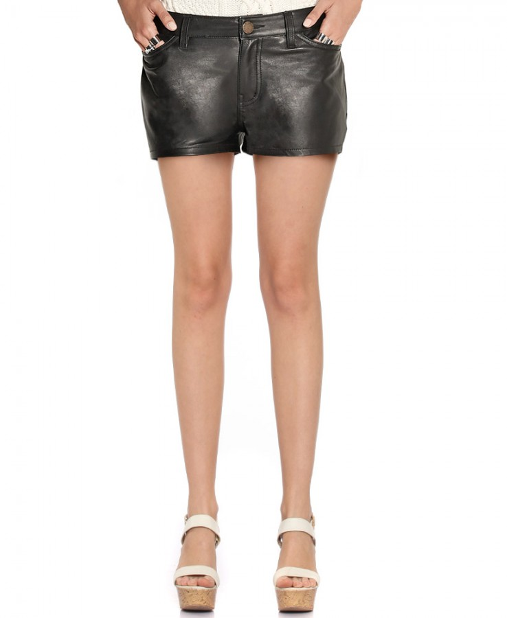 Stylish Ladies Black Leather Fitted Shorts 1
