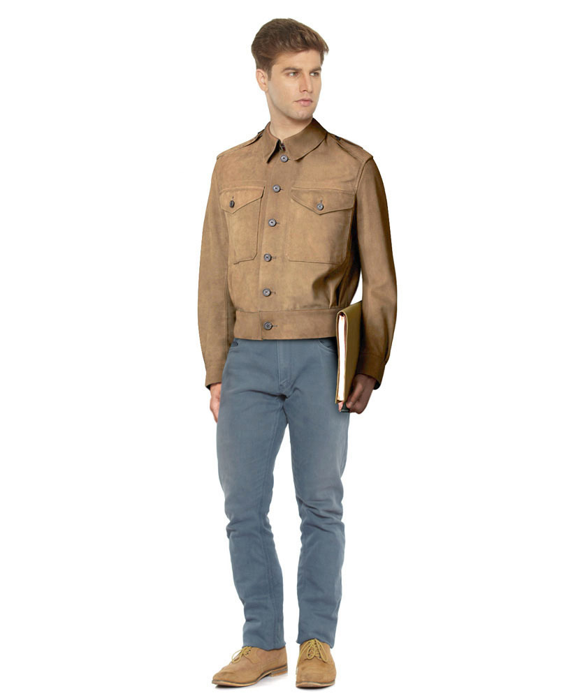 Mens khaki jacket casual -  Mens Vintage Business Casual Jacket With Broad Waistband
