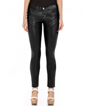Women Skinny Black Leather Pant with Zip Detailing