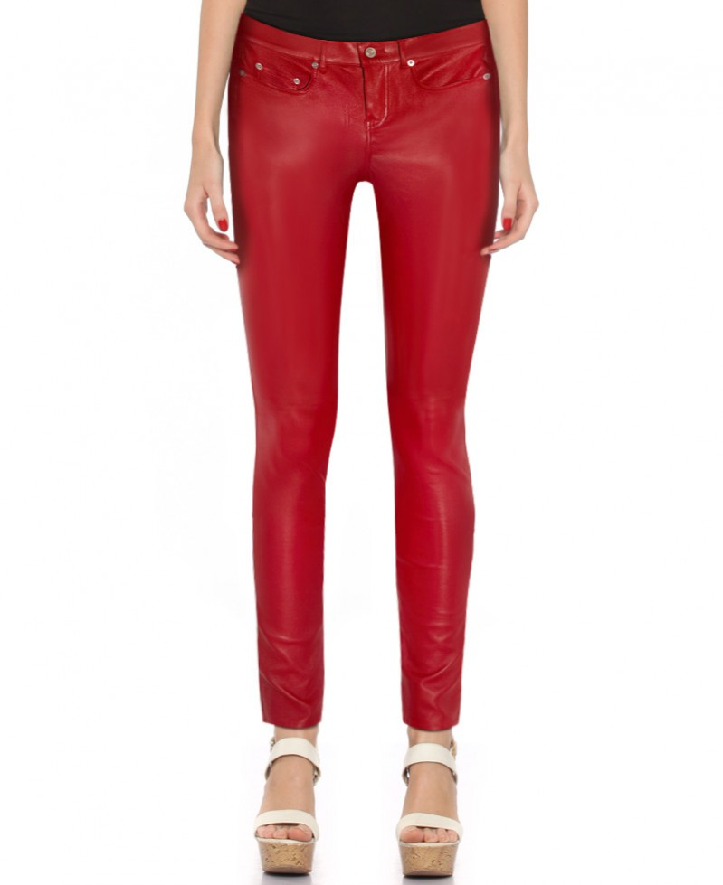 Women Skinny Low Waist Leather Pants 1