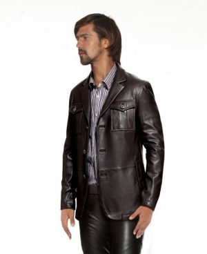 Mens Stylish Leather Blazer with Patch Pockets