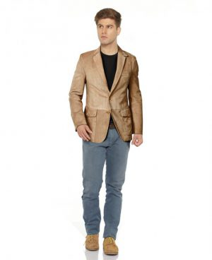 Mens Slim Fitted Suede Blazer with Patch Pocket