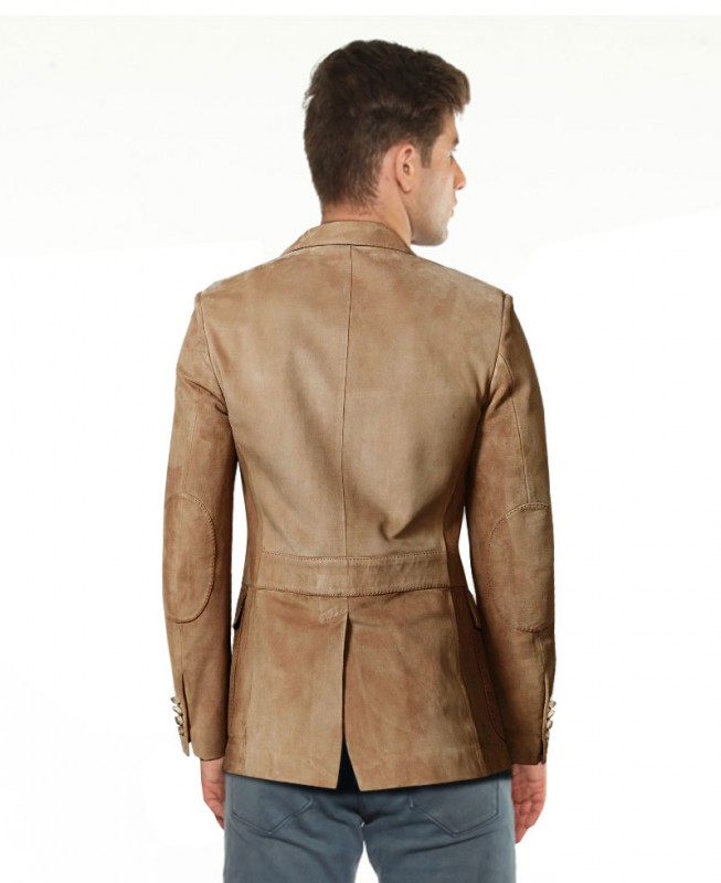 1297204c5aa6c Mens Slim Fitted Suede Blazer with Patch Pocket – Custom Leather ...