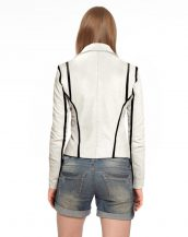 Ivory Moto Jacket with Black Stripes Detailing