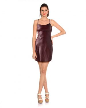 Womens Spaghetti Strap Leather Dress with Cross Back Detail