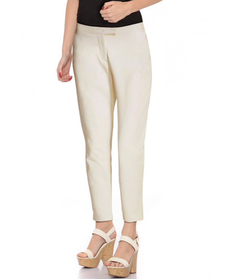 Womens Straight Fit Leather Pant with Pocket Detail 1
