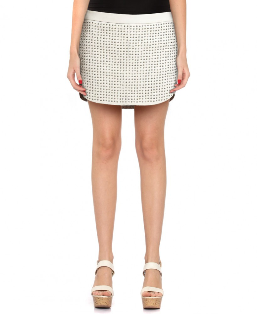 Womens Studded Ivory Leather Mini Skirt with Back Zip Pockets 1