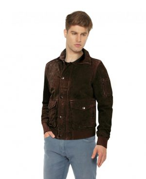 Suede Moto Bomber Jacket with Sleeve Pocket