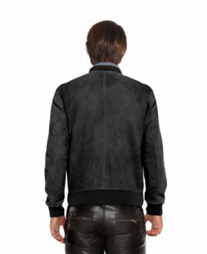 Suede Bomber Jacket with Button Placket