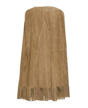 Womens Suede Cape Jacket with Fringes
