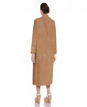 Womens Suede Coat with Zip Fastening