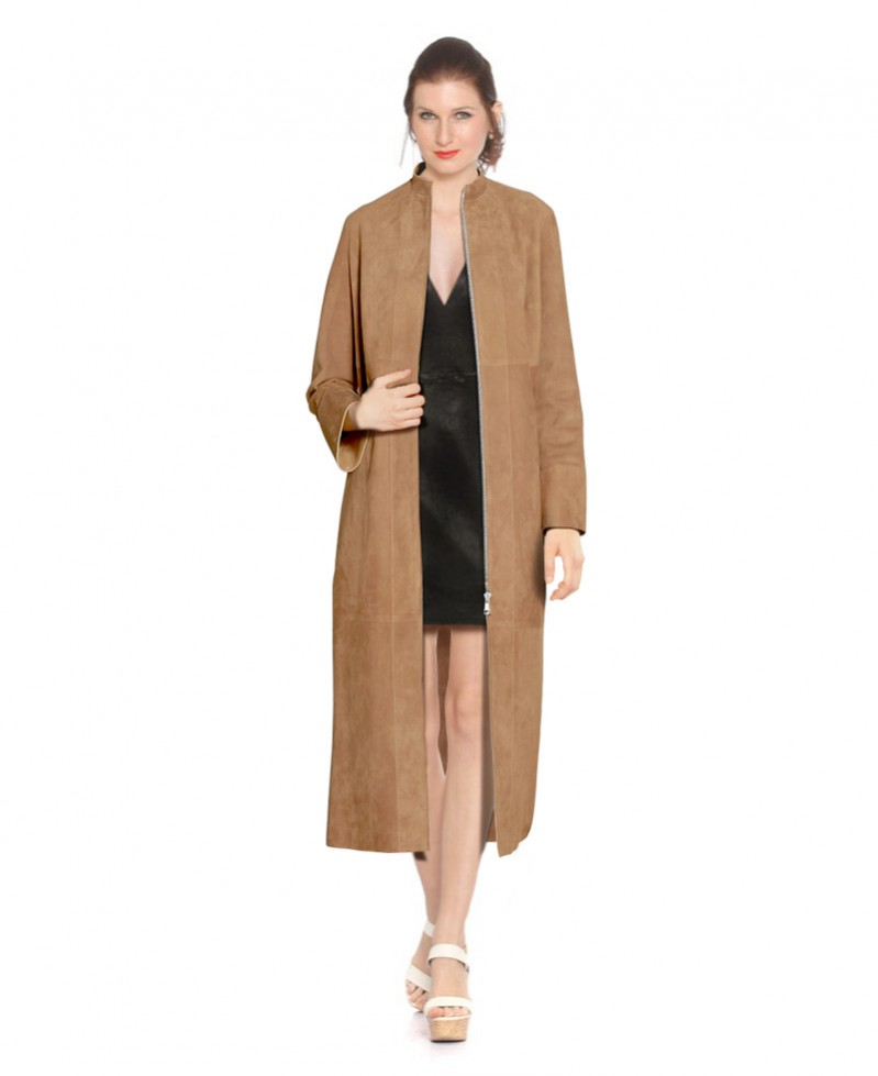 Womens Suede Coat with Zip Fastening 1