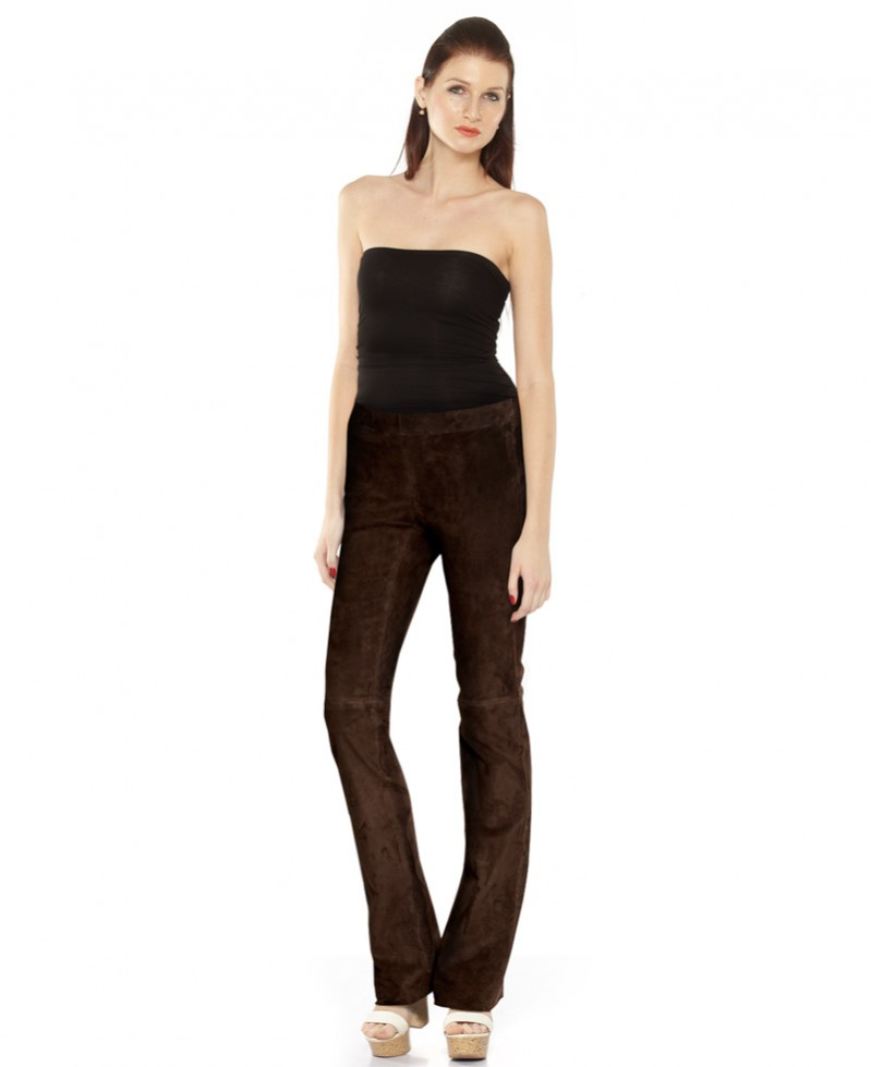 Womens Suede Flared Pant 1