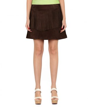 Womens Brown Suede Fringe Skirt