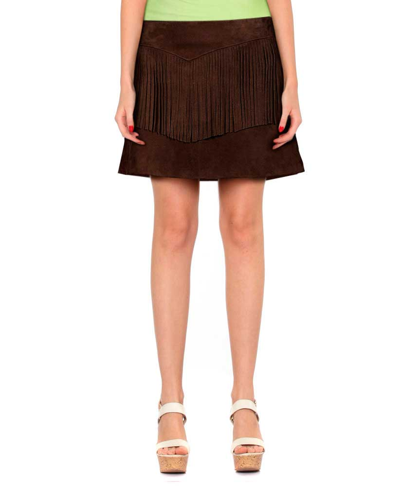 Womens Brown Suede Fringe Skirt 1