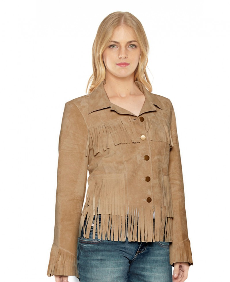 Fringed Suede Blazer for Women 1