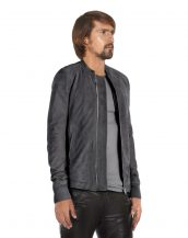 Mens Grey Suede Jacket with Band Collar
