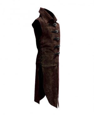 Suede Gilet Tunic with Buckles for Men
